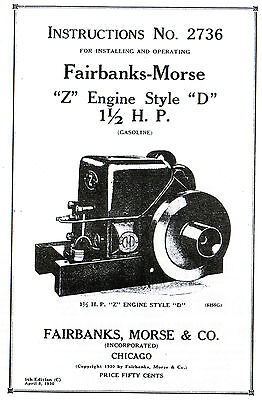 Fairbanks Morse Z D 1.5 2hp Gas Engine Motor Book Manual Hit Miss Hit Miss 2736