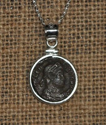 Roman Emperor Valens Authentic Ancient Coin Pendant 925 Sterling Silver Necklace
