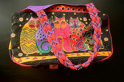 Laurel Burch Multi Color Geometric Design Cat Purse/ Bag