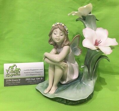 "RARE Lladro #6644 ""Lakeside Daydream"" Fairy Girl Sitting Under Flowers AS-IS!!"