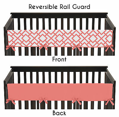 Coral & White Diamond Long Front Rail Guard Baby Teething Cover Crib Protector