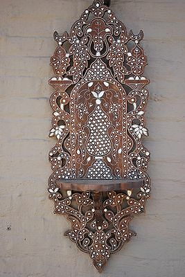 Old Syrian Wall Shelf/Sconce Inlaid with Mother of Pearl. Moroccan, Arabesque