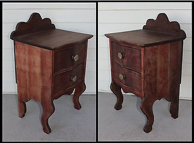 ONE Mahogany Wood Bed Night Stand Easy Chair Table 2 Drw Jewelry Cabinet Antique