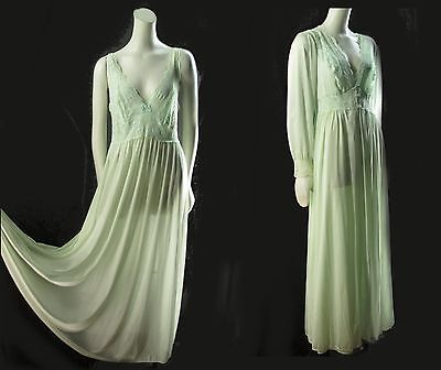 Vintage Lt Green Peignoir Set Shadowline Full Nightgown Robe Soft Nylon M L131