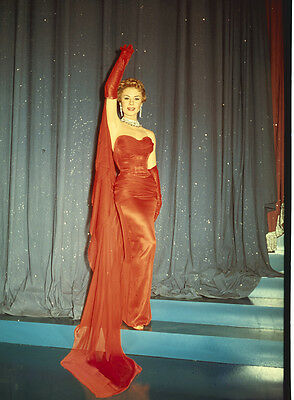 MITZI GAYNOR Striking red dress pose Original Vintage 8x10 Photo TRANSPARENCY