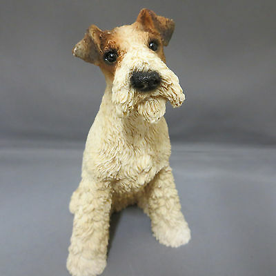 Castagna Fox Terrier Dog Sitting Figurine Statue Italy Stone Resin Collectible