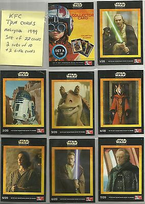MALAYSIA Star Wars TPM KFC trading cards (1999) complete set of 22 cards