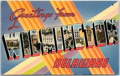 WILMINGTON Delaware Large Letter Postcard Del Mar Linen w/ 1942 DE Cancel