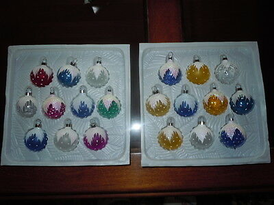 Bradford Christmas Trimmeries Glass Ornaments 2 Sets 20 Ornaments Hand Decorated