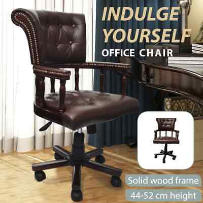 Vintage Genuine Leather Chair Office Arm Brown Chesterfield Captains Executive