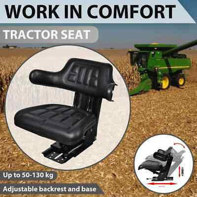 vidaXL Tractor Seat with Suspension Black Leather Replace Excavator Chair