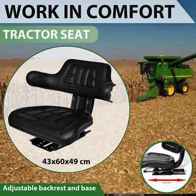 Universal Black Leather Tractor Seat Excavator Truck Spring Back Arm Rest Foam
