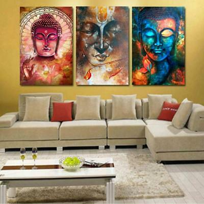3Pcs Canvas Home Decor Wall Abstract Art Painting Picture Colorful Buddha L