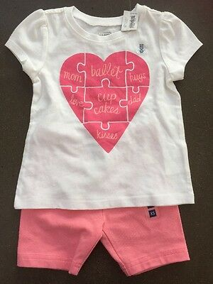 a3be073d Girls Old Navy Heart Shirt NEW NWT 18-24 Months Gymboree Shorts Mom Dad Love