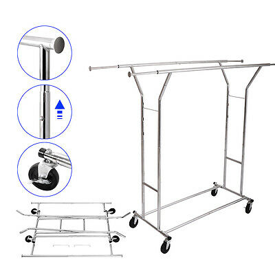 Double Heavy Duty Rail Adjustable Rolling Garment Rack Clothes Hanger