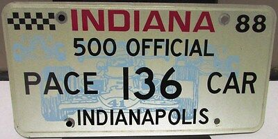 1988 Indy 500 Official Pace Car License Plate #136 Olds Cutlass Chuck Yeager 88