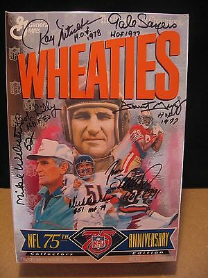 Autographed NFL 75TH ANNIVERSARY Wheaties Box NITSCHKE-SAYERS-BUTKUS-LILLY +++