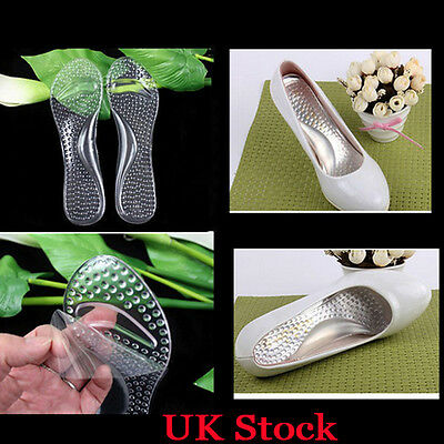 Women Silicone High Heels Thick Arch Support Anti-pain Insoles Flat Feet Heel UK