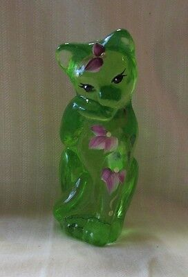 "Grooming Cat Key Lime Fenton NIB hand painted 4"" tall Issued 2011"
