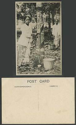 Singapore Old Real Photo Postcard Malay Women Ladies Tapping Rubber Tree Buckets
