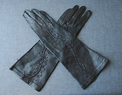 Vintage Black Glass Hand Beaded Genuine Leather Gloves