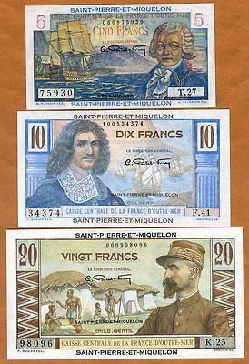 SET Saint Pierre and Miquelon, 5;10;20 Francs, ND (1950), P-22-23-24, UNC