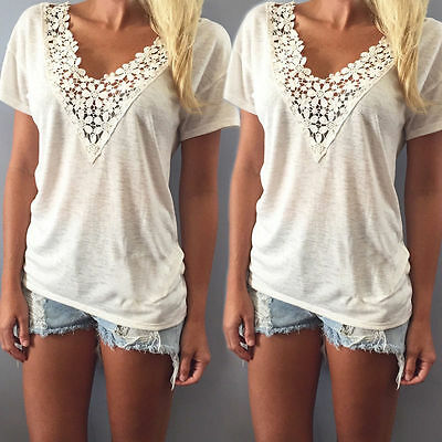 US Seller Lady Loose Short Sleeve Cotton Casual Blouse Shirt Tops Summer T-shirt