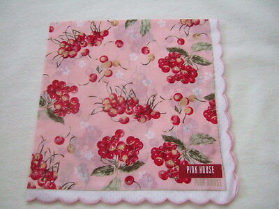 Made in Japan Muslin cotton   Hanky Handkerchief PINK HOUSE cherry