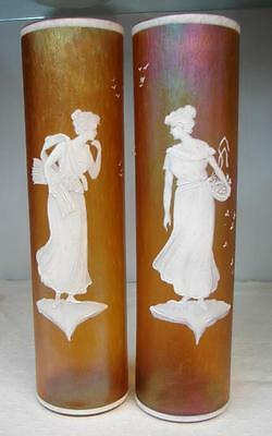 Pair Art Nouveau Irridescent Mary Gregory style Marigold Carnival Glass Vases