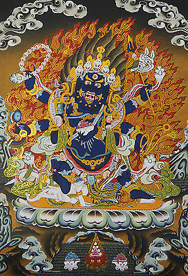 "14"" Brocaded Blessed Golden Wood Scroll Tibet Thangka: Six Arms Mahakala"