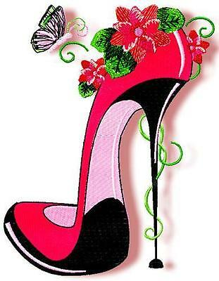FANCY SHOES 10 MACHINE EMBROIDERY DESIGNS CD 4 sizes