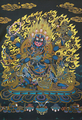 "14"" Brocaded Blessed  Wood Scroll Tibet Black Thangka: Six Arms Mahakala"