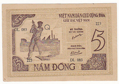BILLET : VIET NAM 5 DONG 1946 SUPERBE 2 scan