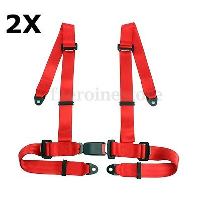 PAIR OF RED 3 4 POINT RACING SEAT BELT HARNESSES FOR CAR/OFF ROAD/4x4 HARNESS