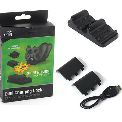 Dual Charger Dock Battery USB Charge+Cable for XBOX ONE Wireless Controller