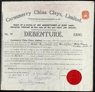 Carnsmerry China Clays Ltd., £100 debenture, 1914