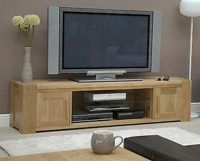Padova solid oak furniture widescreen television cabinet stand unit