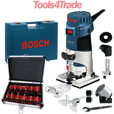 Bosch GKF600 Palm Router Kit And Extra Base 240v+ Excel 12 Piece Cutter Set