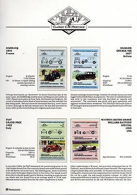 CLASSIC CARS Stamp Collection Leaders of the World on 16 written up pages u/mint