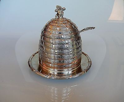 Corbell Silver Co. 1946 Honey Bee Pot Silverplate Glass Insert and Spoon