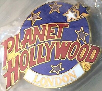 Planet Hollywood LONDON Classic Globe Red, White & Dark Blue Lapel PIN Badge New