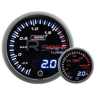 60mm JDM Smoked Style 2 Bar Boost Dual Stepper Motor Gauge warning