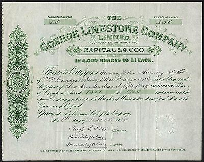 Coxhoe Limestone Co. Ltd., £1 shares, 1902