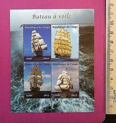 Classical Sailing Boats Ships Stamps 2015 Congo MINT NH perf. 4 Value Sheetlet