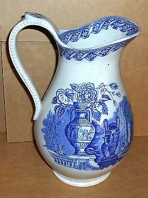 "Large 12.5"" Antique T. Bros Vase Pattern Blue & White Pottery Pitcher Water Jug"