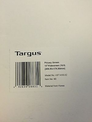 "NEW Targus Privacy Screen for 14"" Widescreen (16:9) Laptops, ASF14W9USZ"