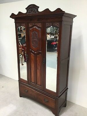 Antique Walnut Victorian Mirror Fronted Double Wardrobe Good Example