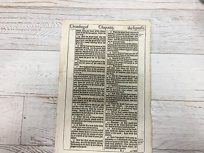 1611 First ed King James Bible Great He bi-folio Leaf! Leviticus 14 and 20