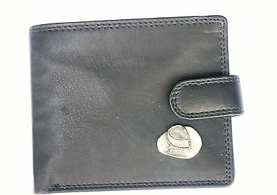 Cow Boy Hat Leather Wallet pewter emblem BLACK or Brown stetson Gift 85