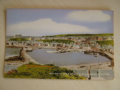 Postcard - HARBOUR AND CHURCH FROM WEST, FINDOCHRY. Unused. Standard size.